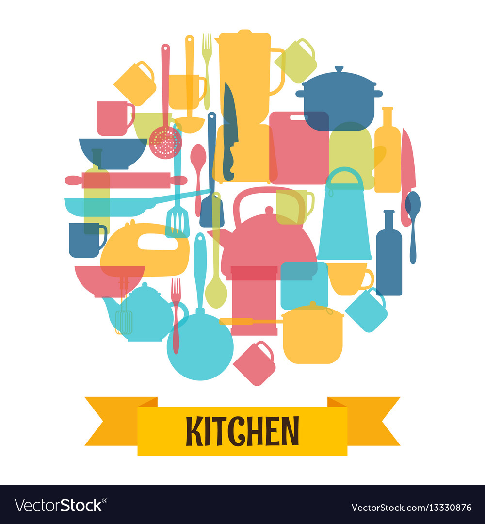 Cooking utensils background kitchen and Royalty Free Vector