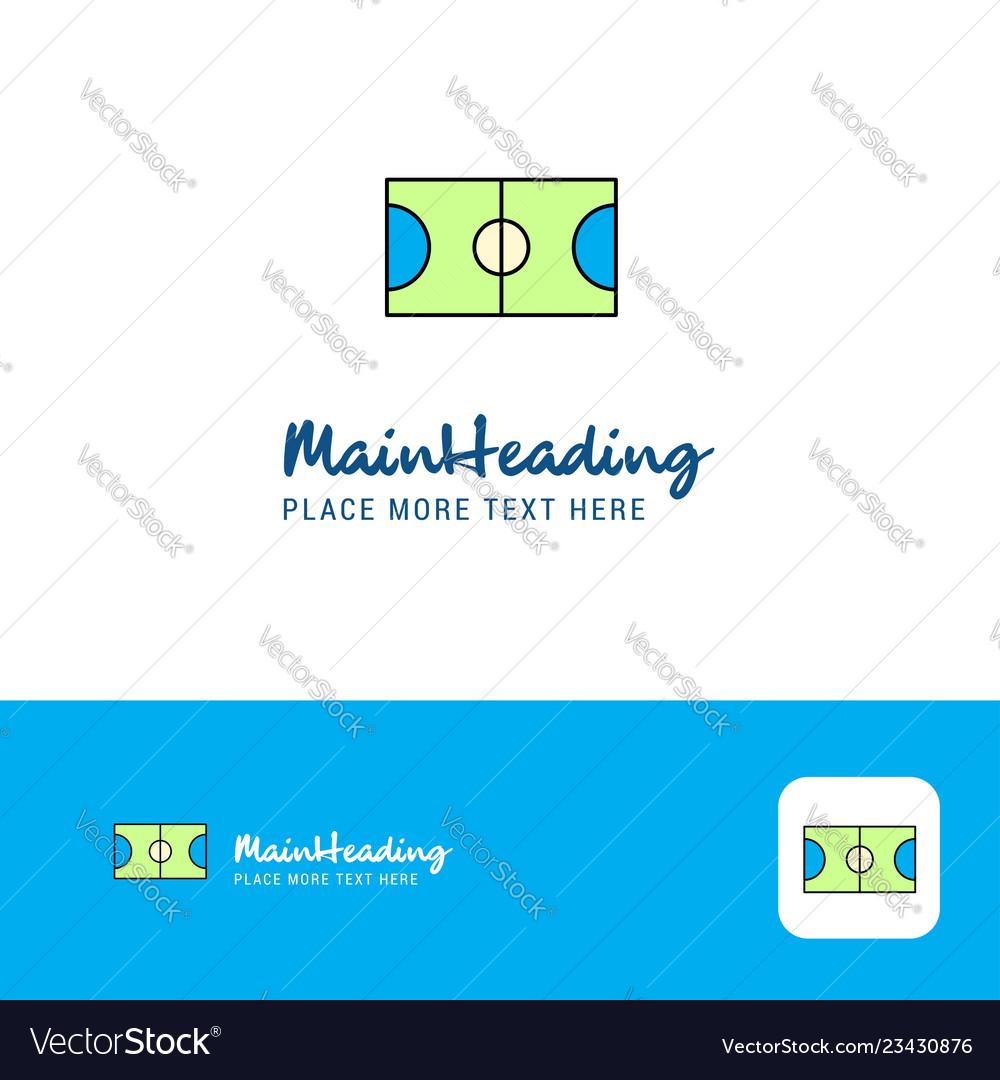 Creative football ground logo design flat color