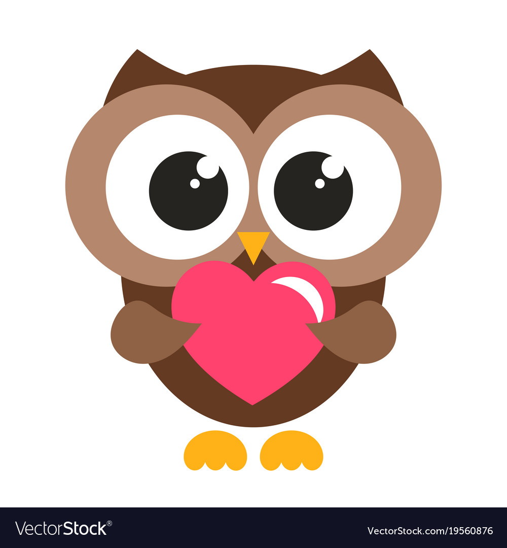 Cute brown owl with heart Royalty Free Vector Image