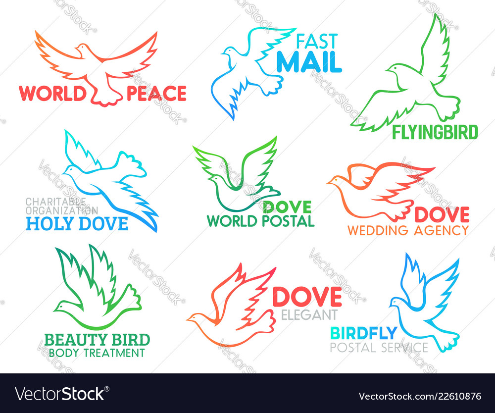 Dove bird flying business design icons
