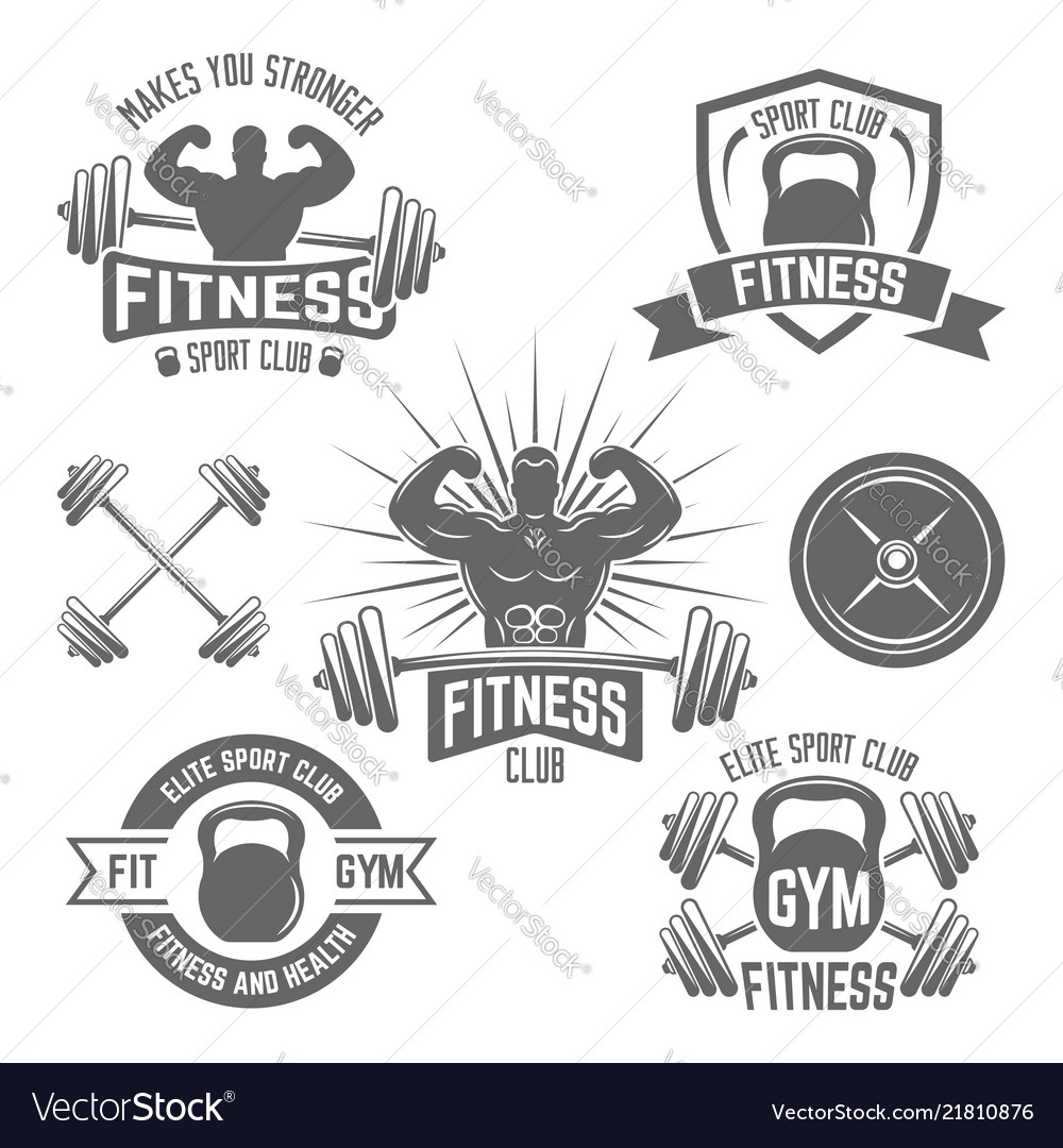 Fitness sport club emblems isolated