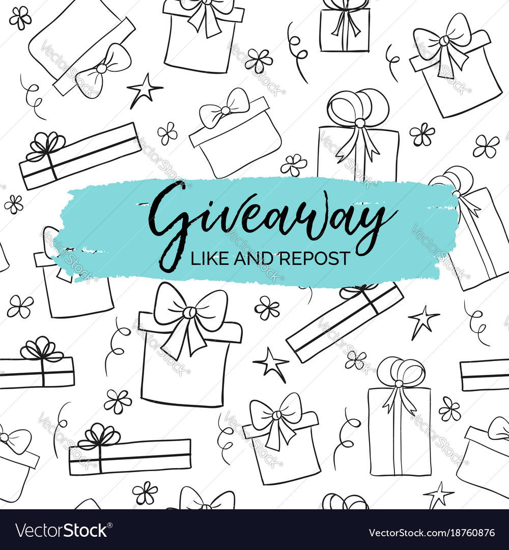 Giveaway minimal card for social media marketing vector image