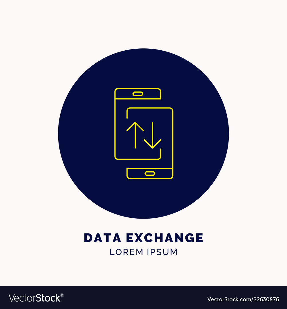 Icon data exchanges on smartphone vector