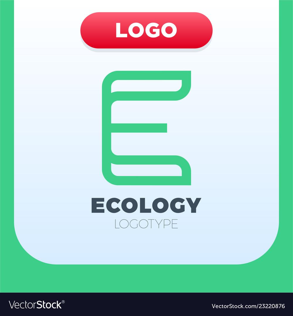 Letter e ecology logo icon design template