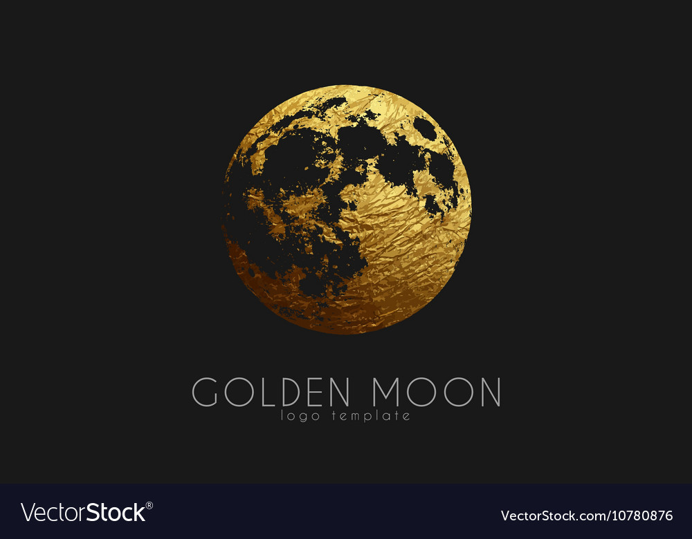 Moon logo design Creative moon logo Golden logo vector image