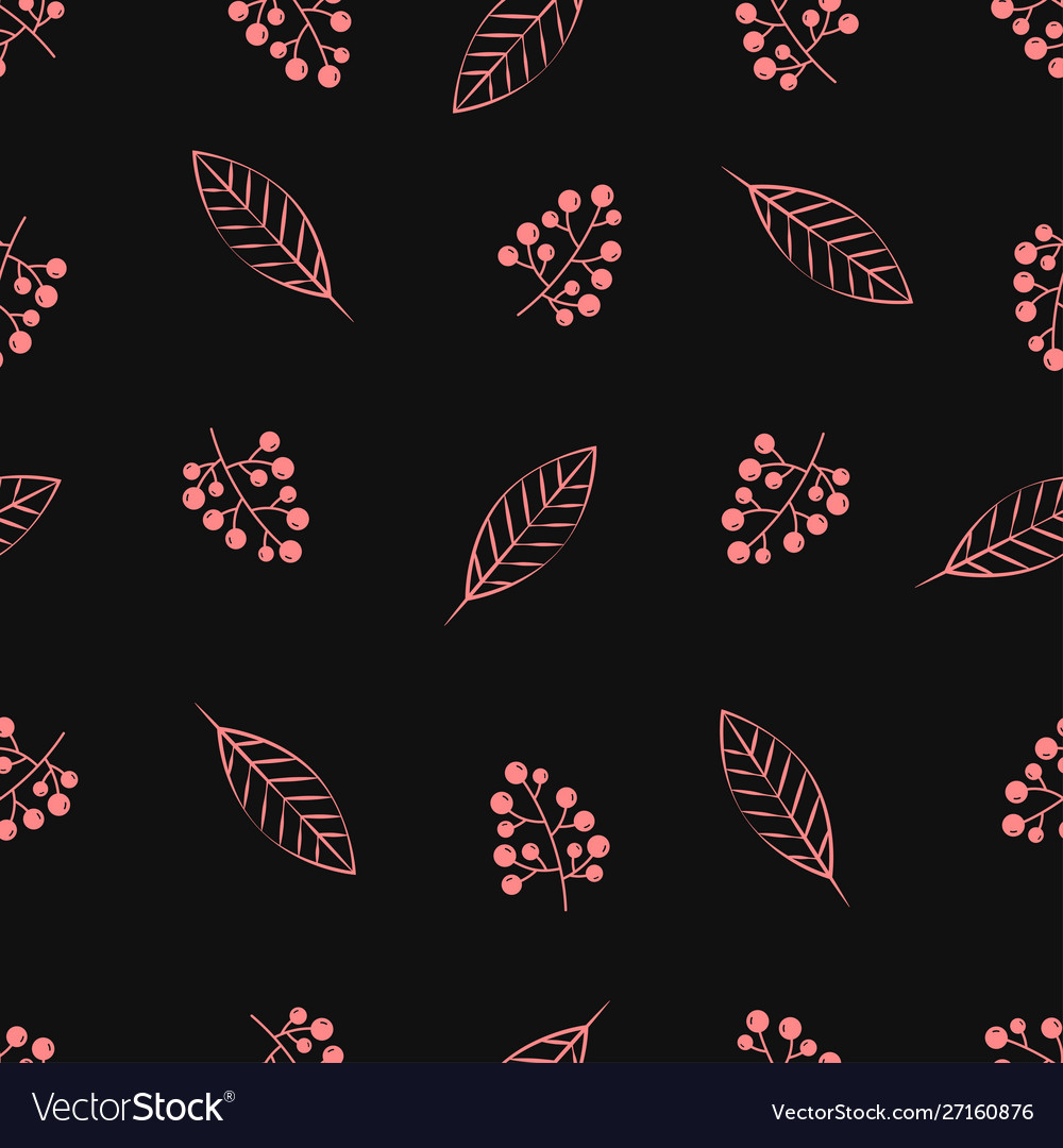 Seamless pattern with twigs berries
