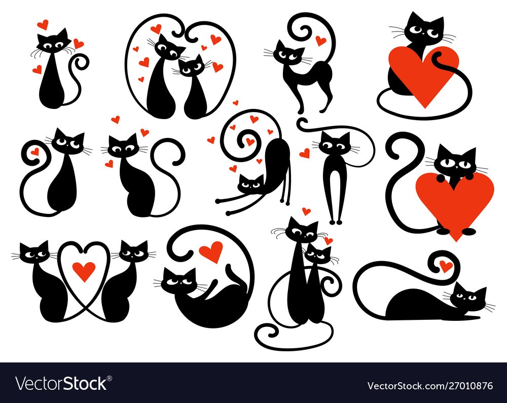 Set black cats with hearts collection cats