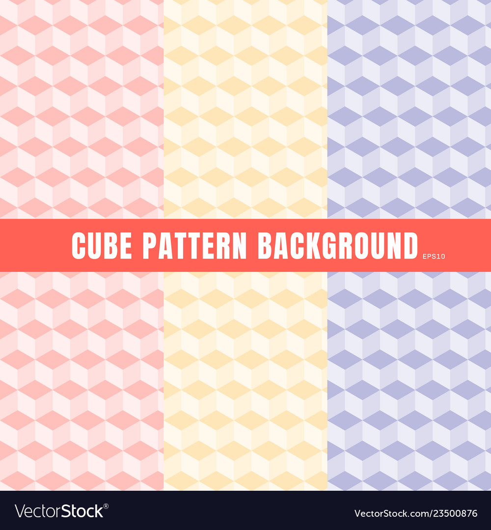 Set of cube pattern pink purple yellow color