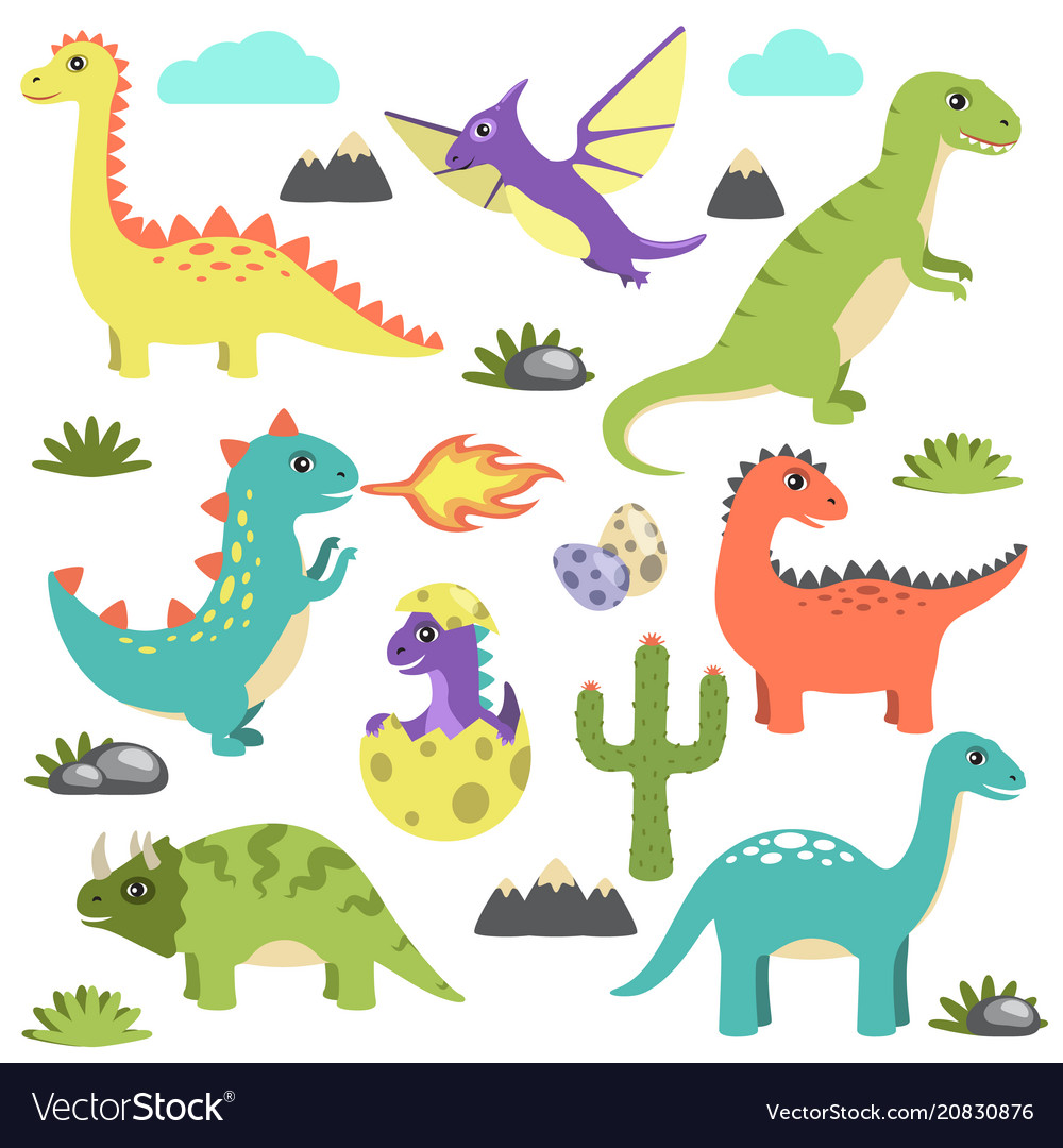 Set of dinosaurs icons on
