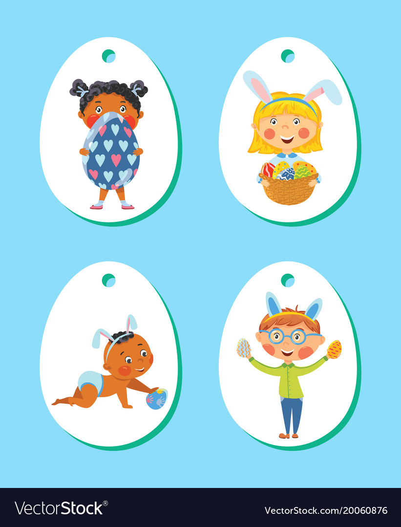 Set of easter tags labels with children with eggs