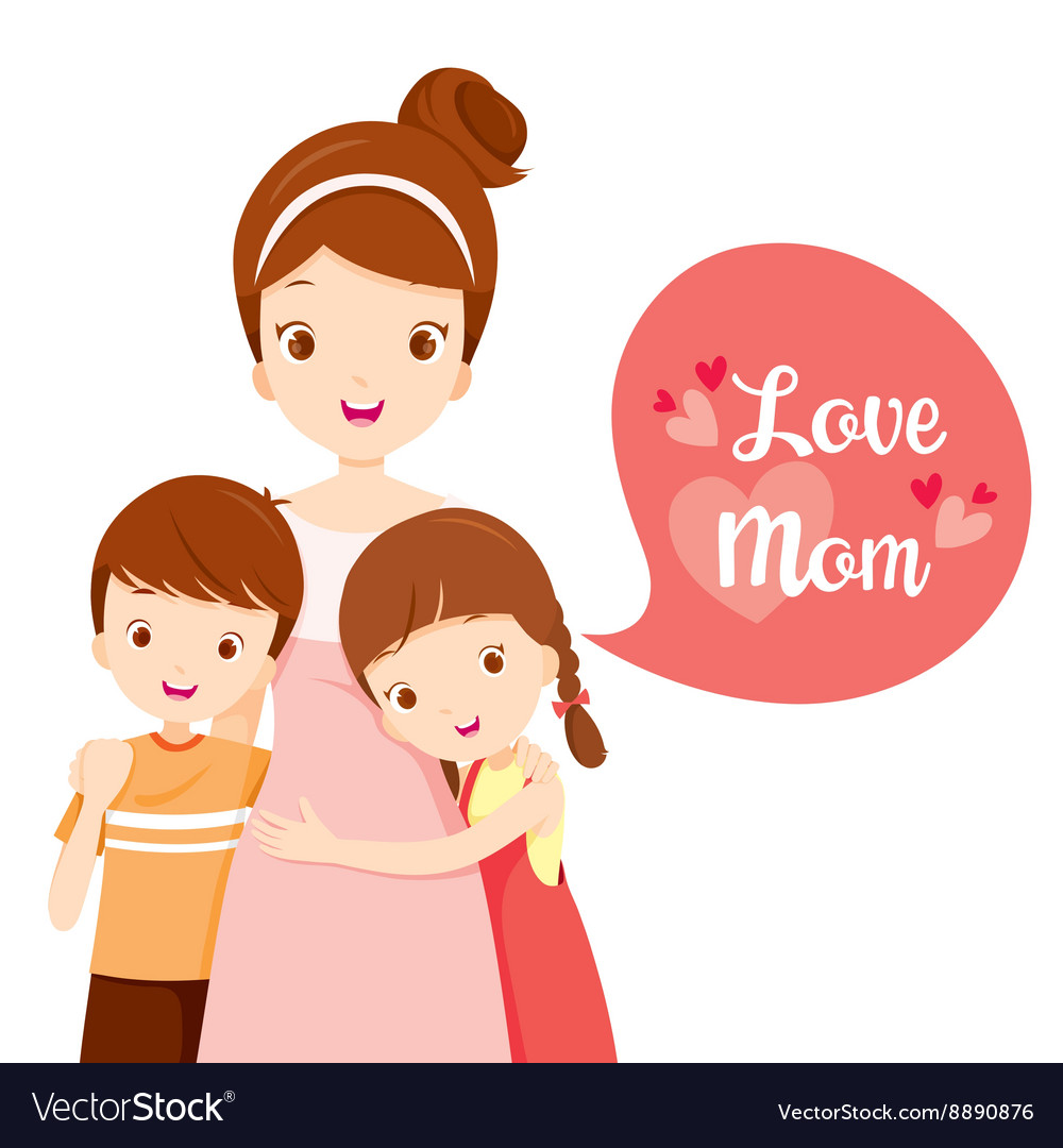 Son And Daughter Hugging Their Mother Royalty Free Vector