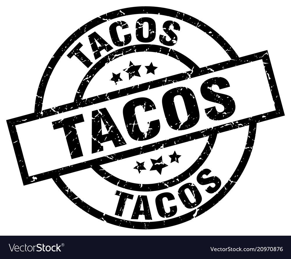 Tacos round grunge black stamp