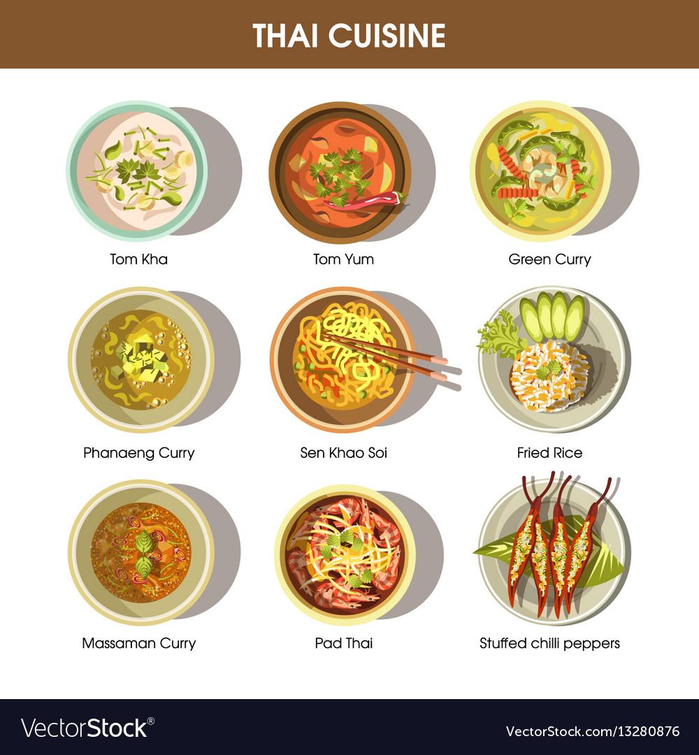Thai food cuisine icons for restaurant menu Vector Image