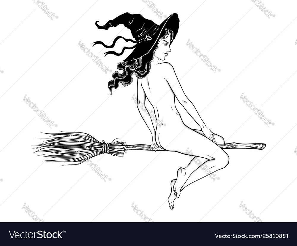 Beautiful witch girl riding broom hand drawn
