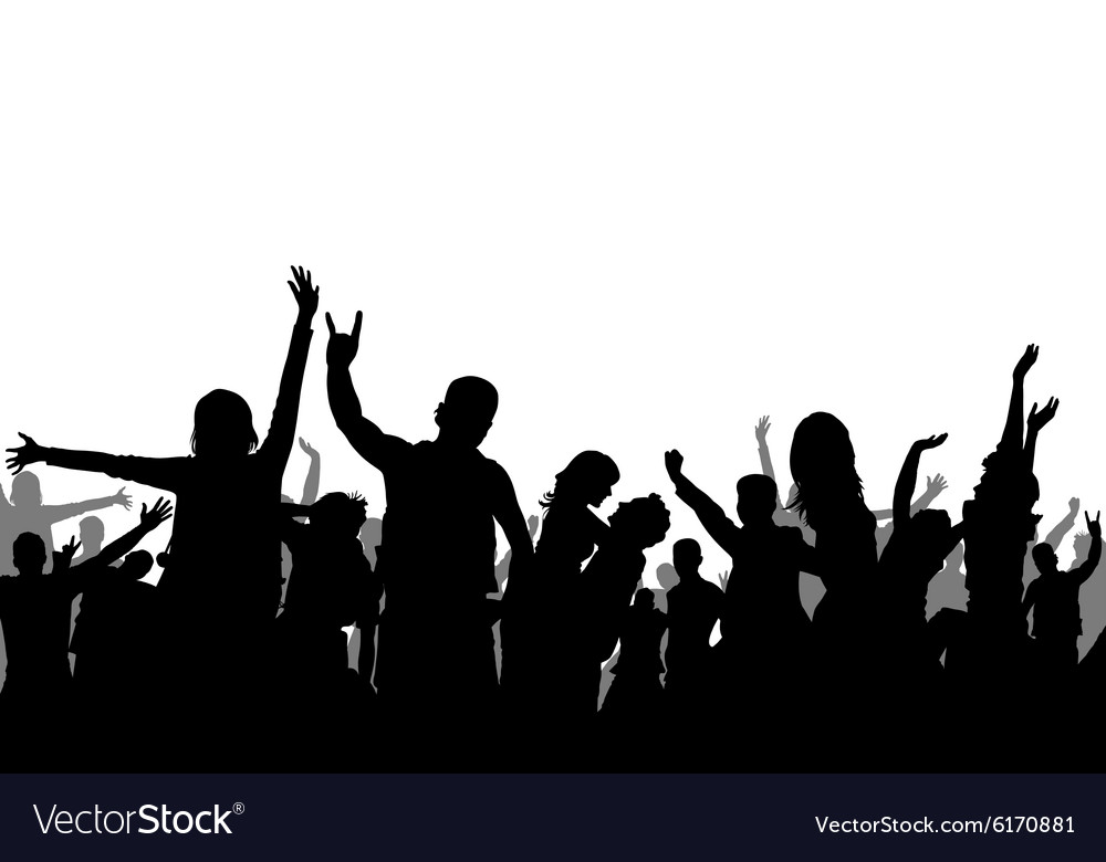 black and white party crowd silhouette royalty free vector rh vectorstock com party factory swansea party victoria stakes crouch end