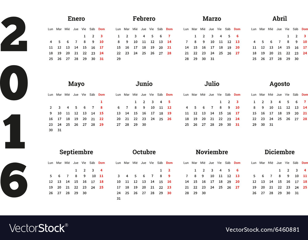 Calendar 2016 year on Spanish language A4 sheet