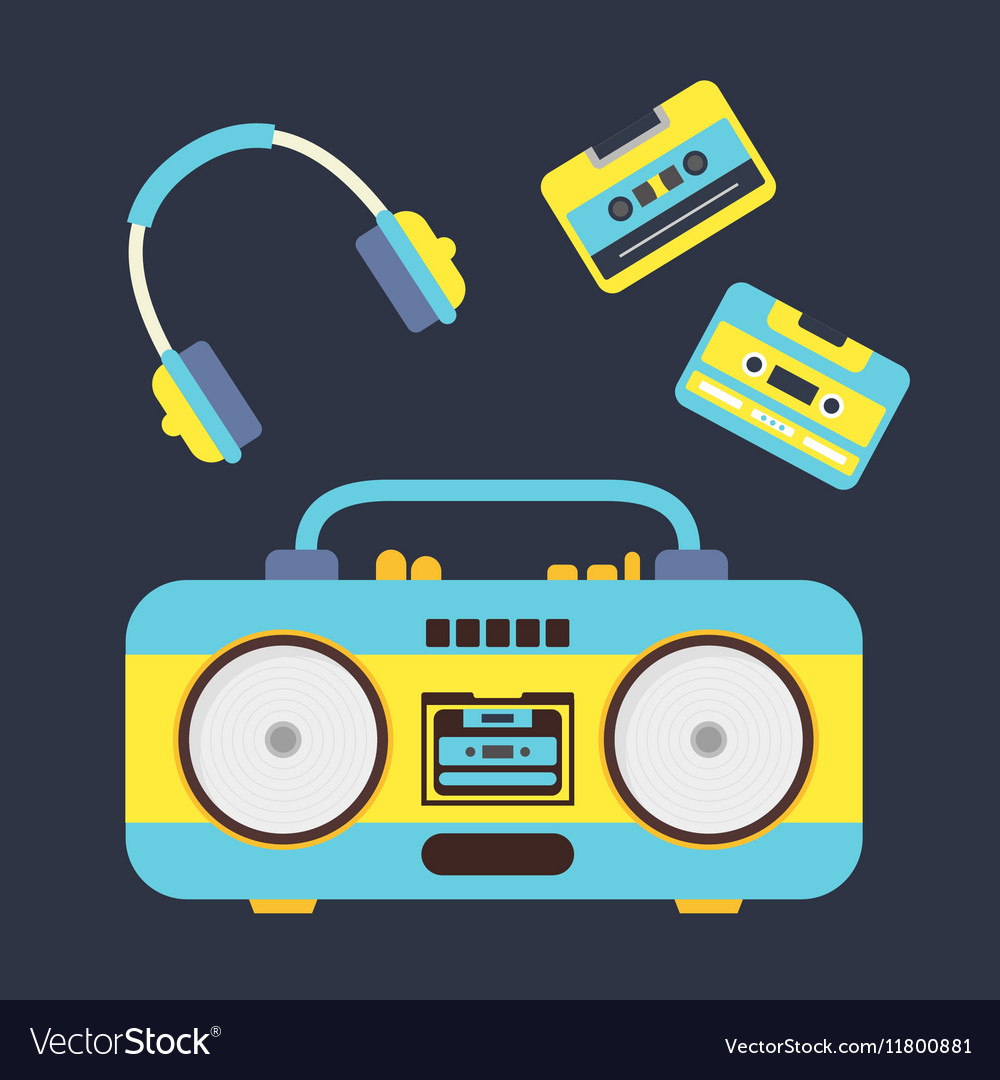 Cartoon Boombox Cassettes and Headphones