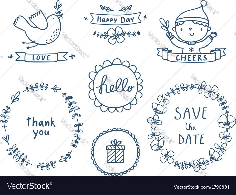 Decorative graphic set vector image