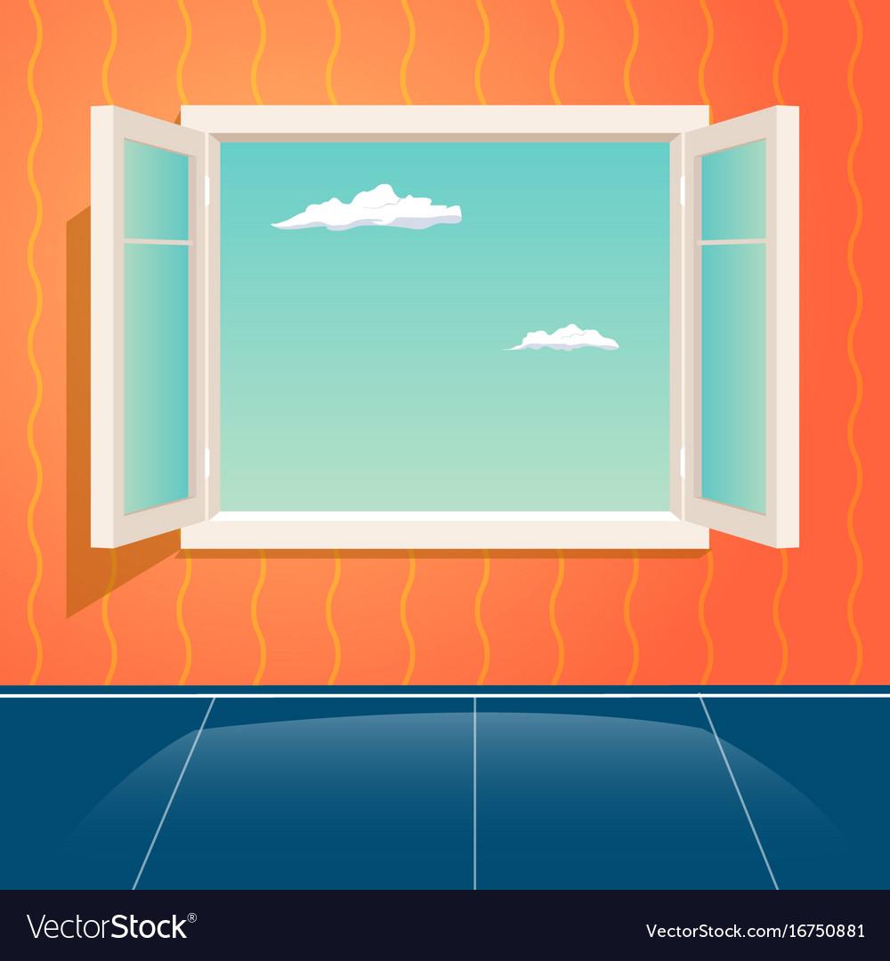 11220a103933 Home open glass window frame cartoon interior Vector Image