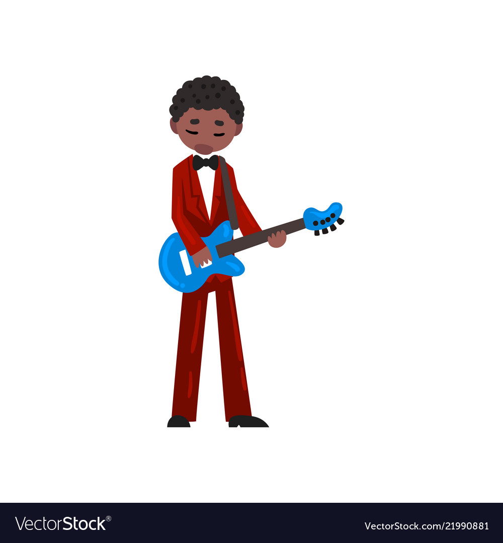 Male african american musician in red suit playing