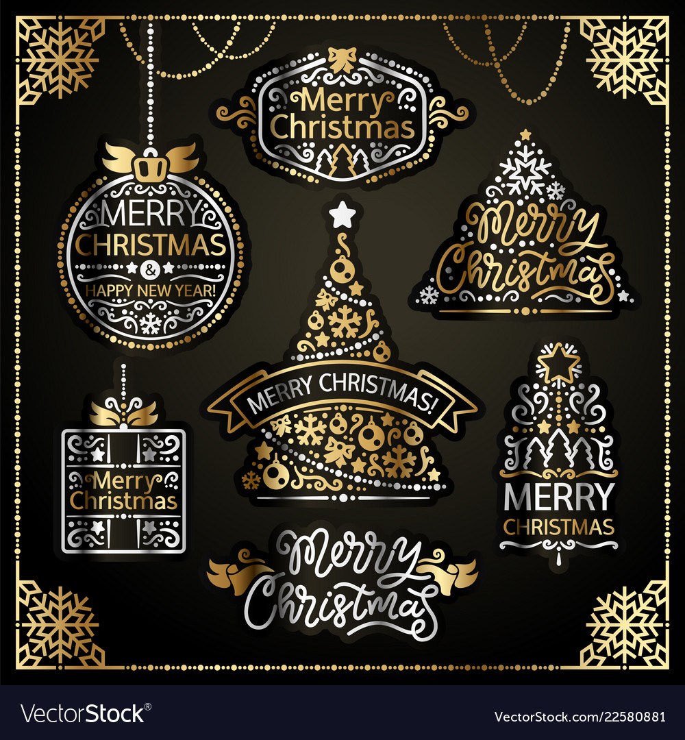 Merry christmas design labels golden set