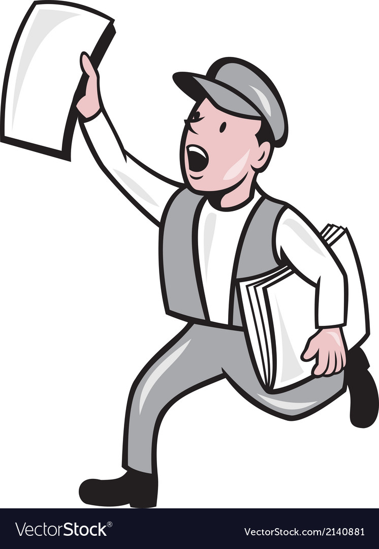 newsboy selling newspaper cartoon royalty free vector image