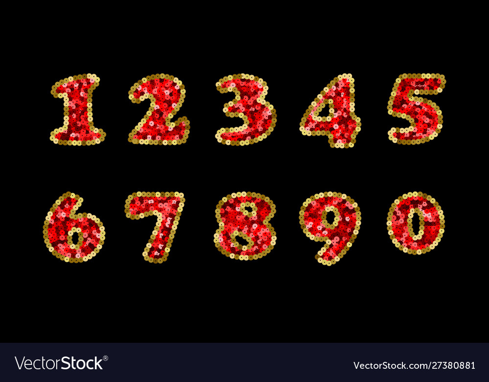 Sequin red and gold numbers part 5