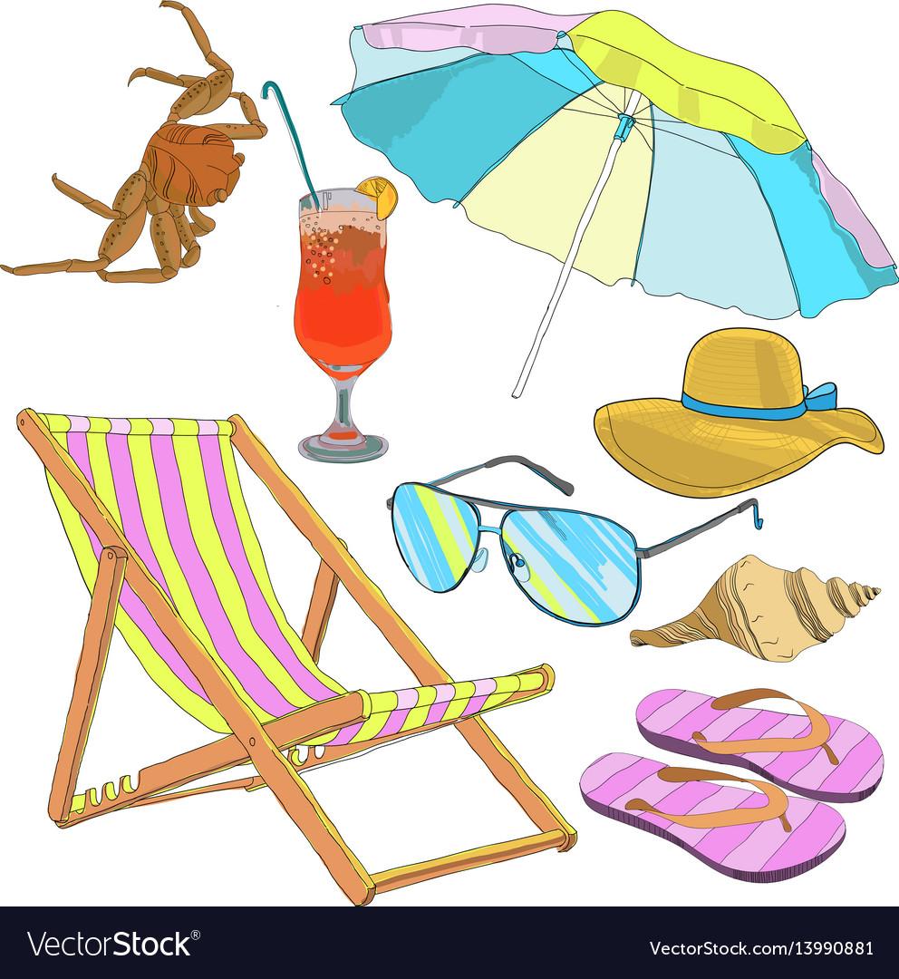 Summer beach vacation set vector image