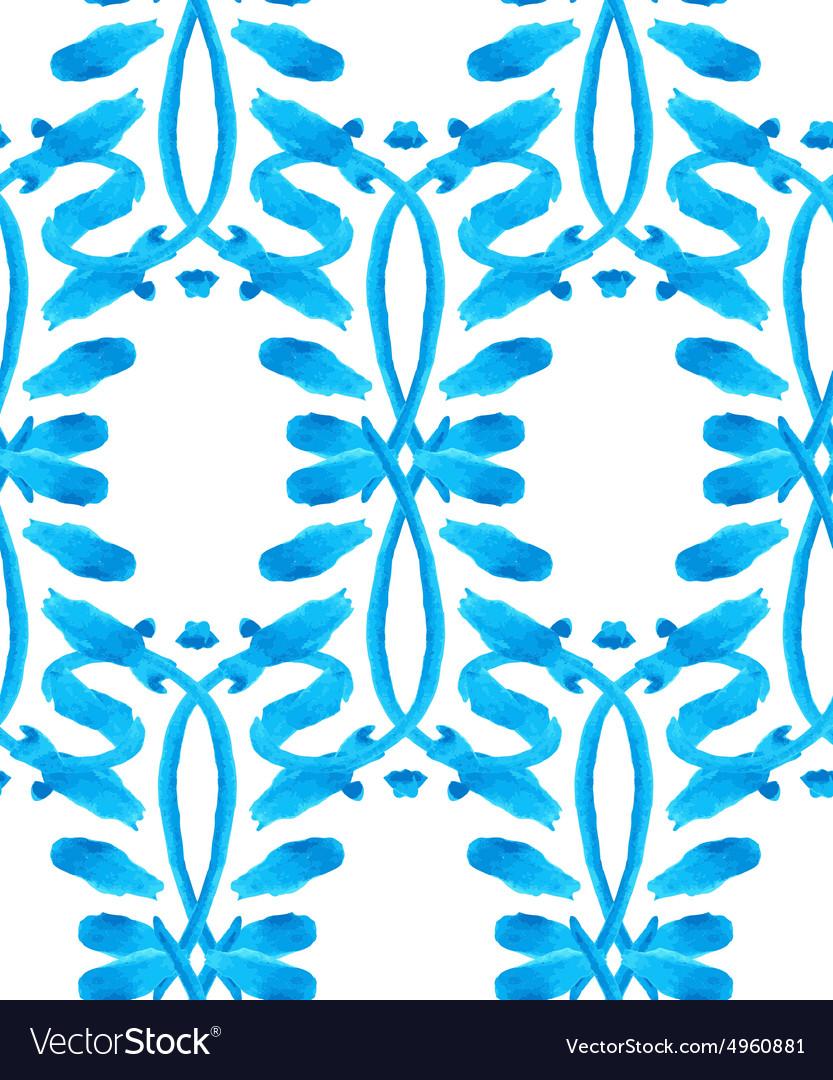 Watercolor Gzhel pattern vector image