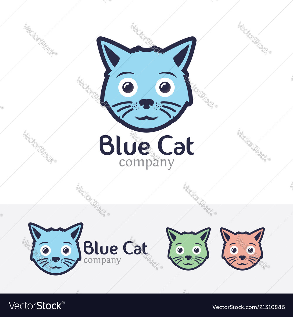 Blue cat logo design