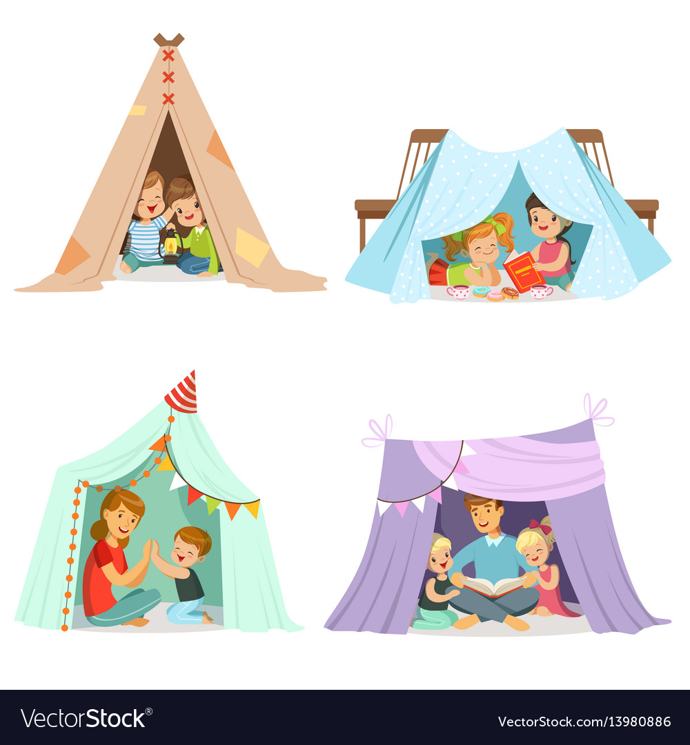 Cute little children playing with a teepee tent