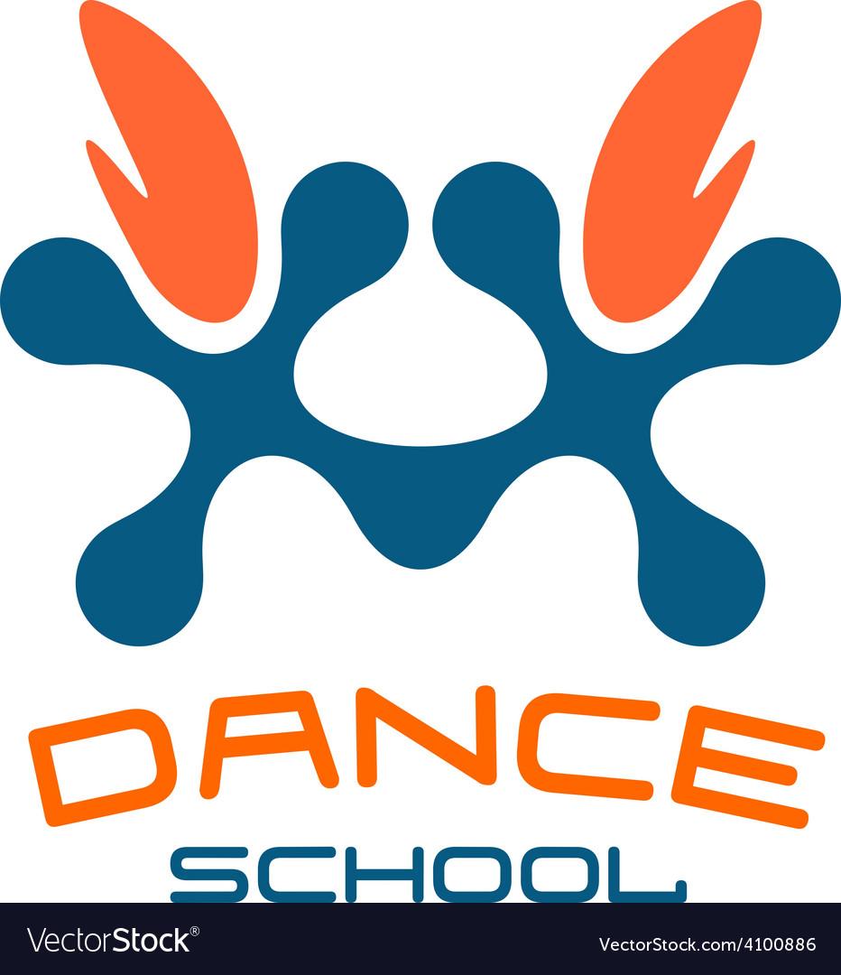 Dance school logo template Modern style vector image