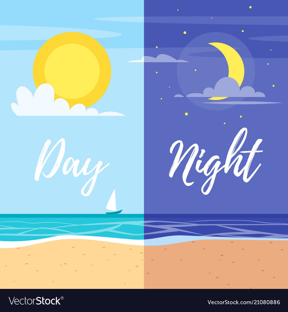 Day and night summer beach