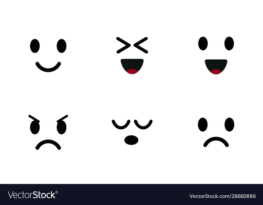 Emoji icon set characters faces cute emoticon