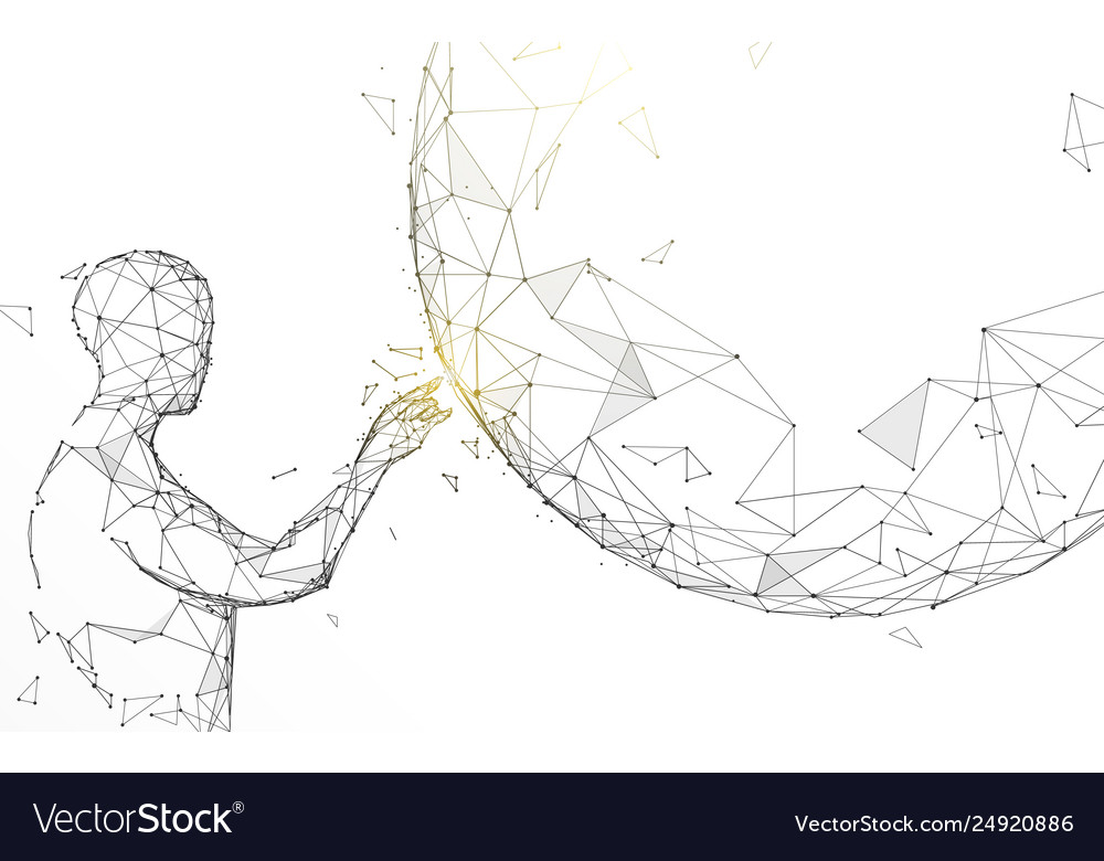Man touching global from lines and particle