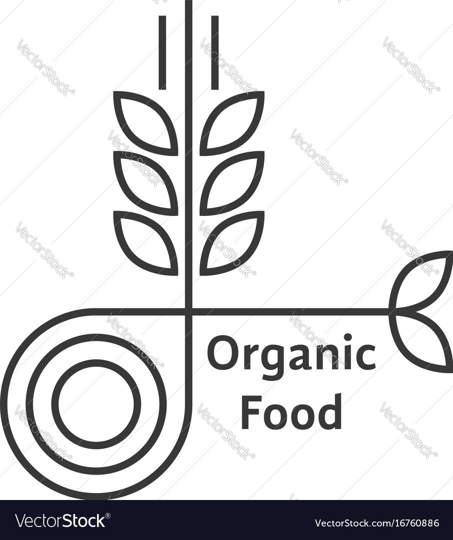 Organic food logo with thin line wheat ears