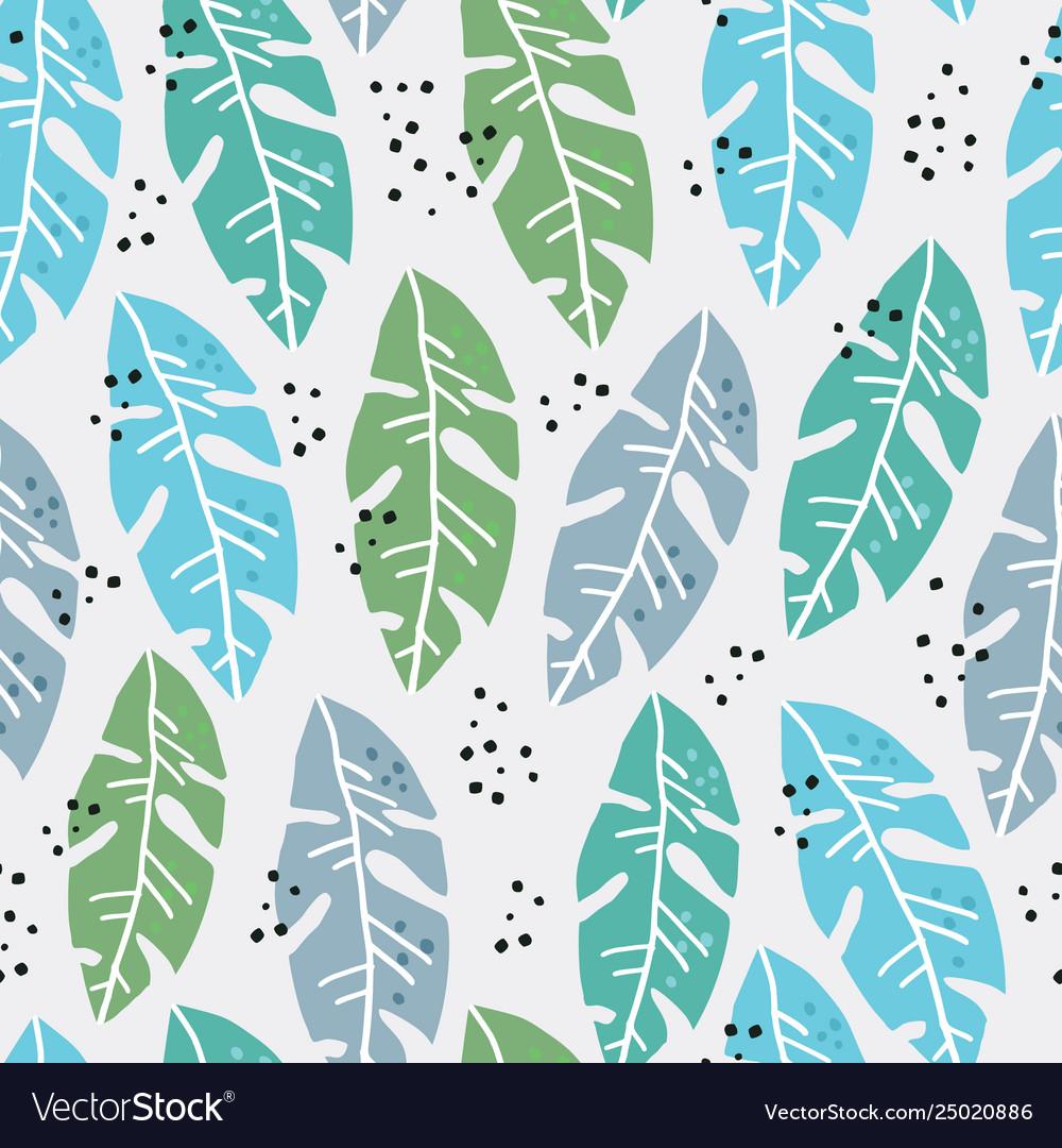 Palm leaves flat handdrawn seamless pattern