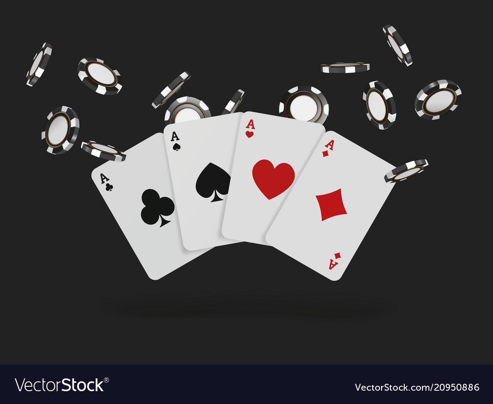 Playing Cards And Poker Chips Fly Casino Concept Vector Image