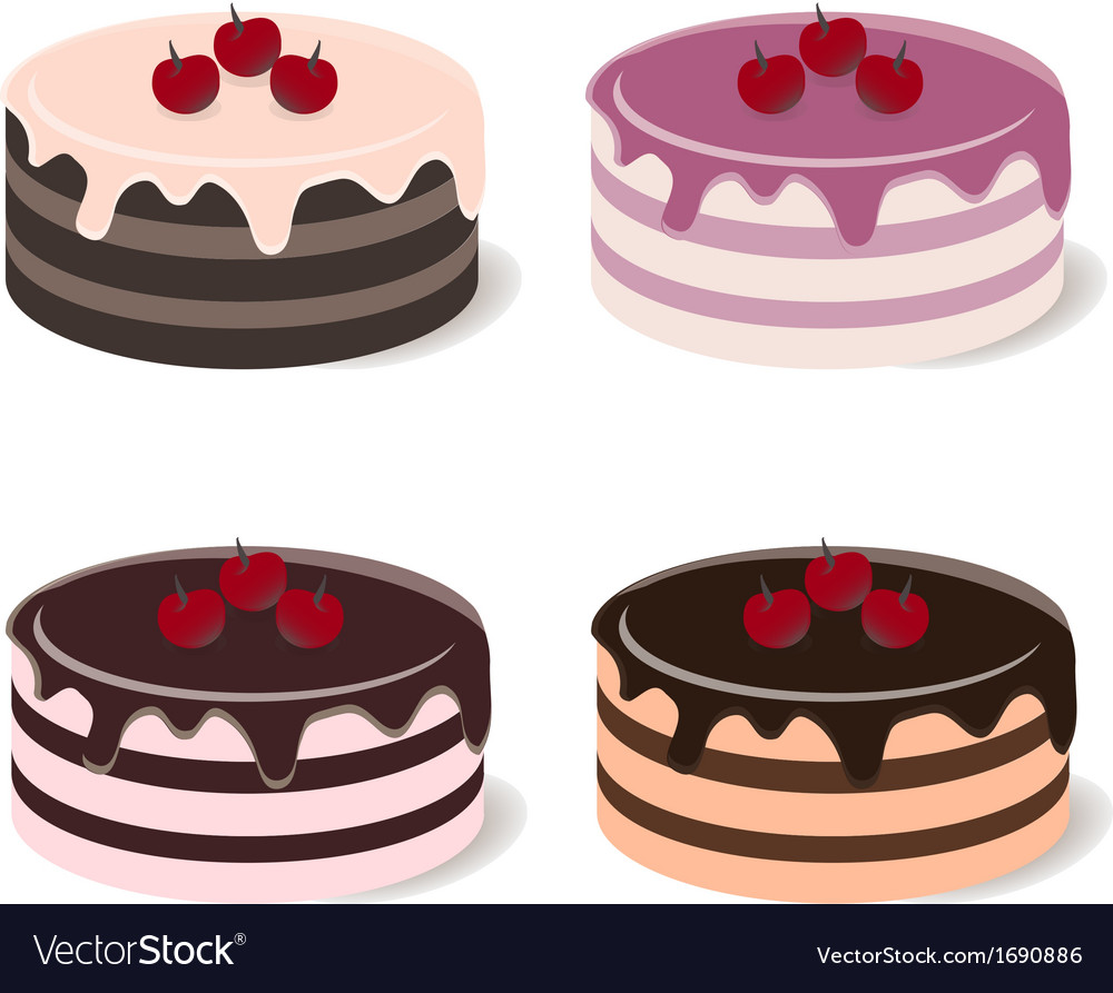 Set of different cakes