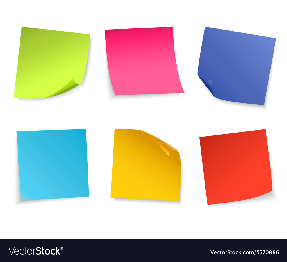 Set of isolated colorful paper notes