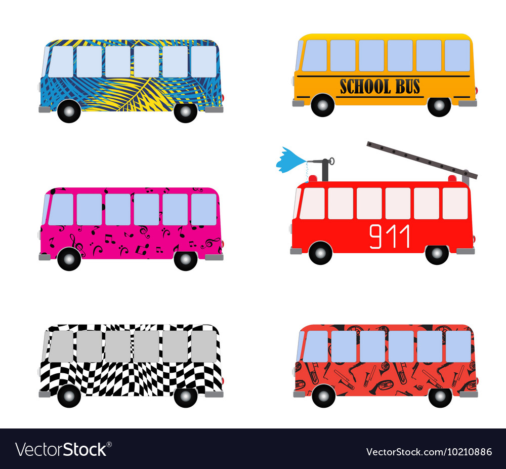 Set of Painted Cartoon Buses for Vacation School vector image