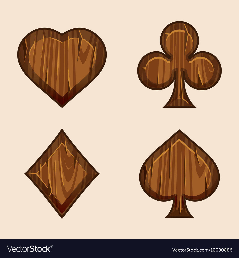 Set wooden icons of playings cards