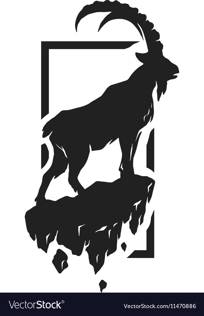 Silhouette of a mountain goat vector image
