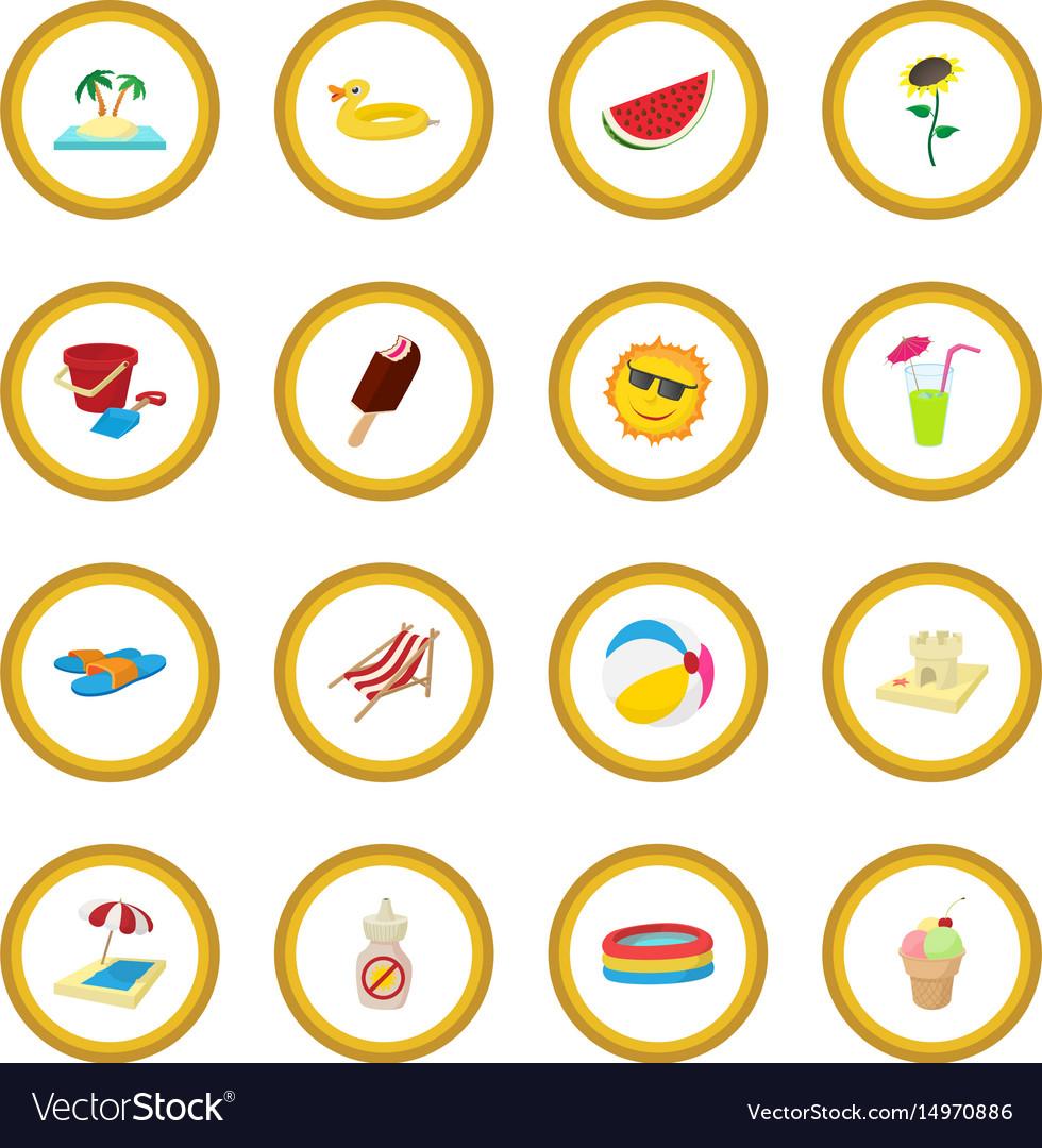 Summer icon circle vector image