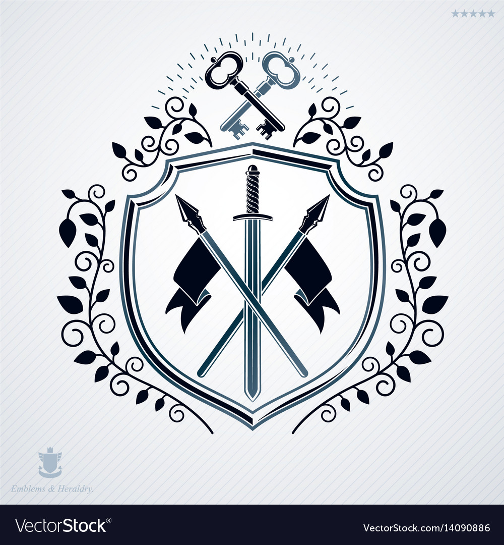Vintage decorative emblem heraldic composition vector image
