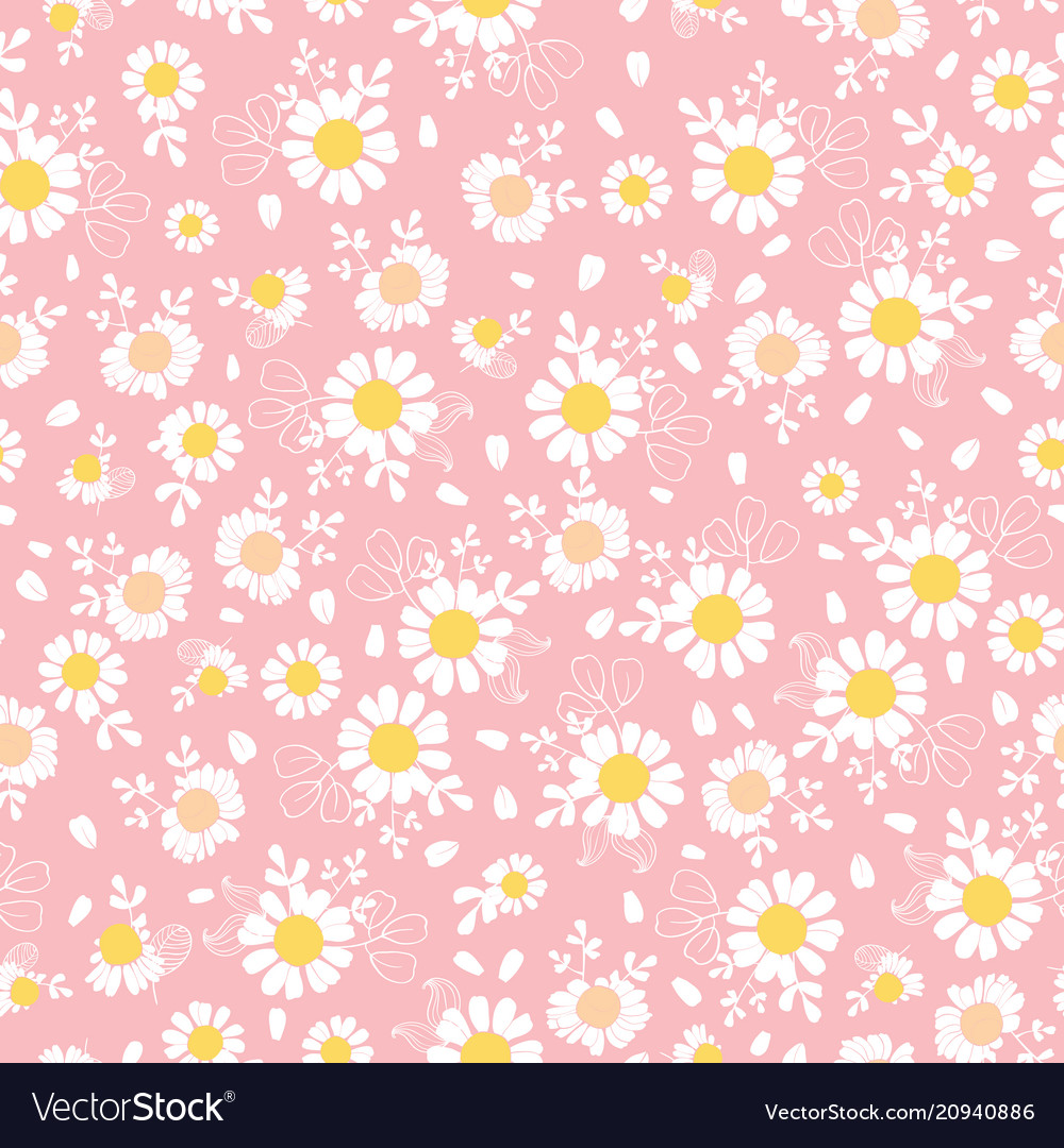 Vintage pink daisies ditsy seamless pattern