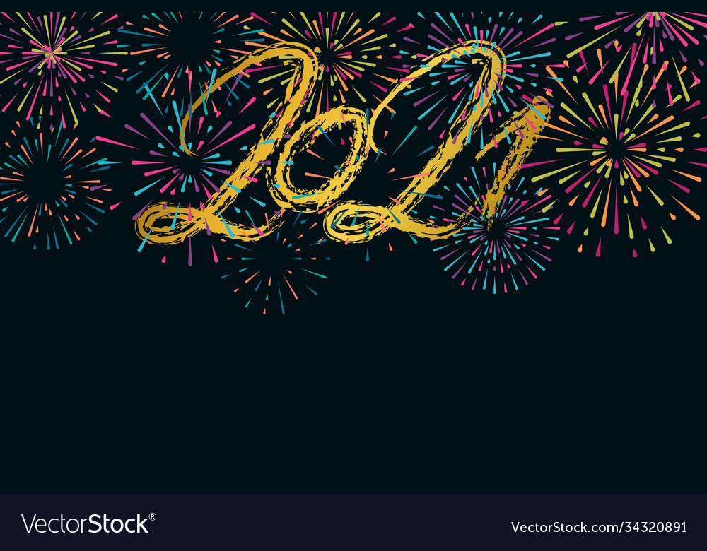 2021 happy new year hand drawn text lettering and vector