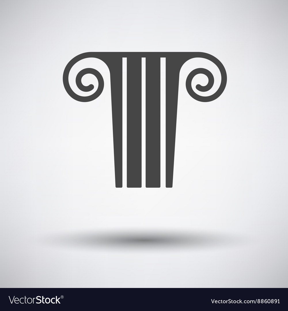 Antique column icon on gray background vector image