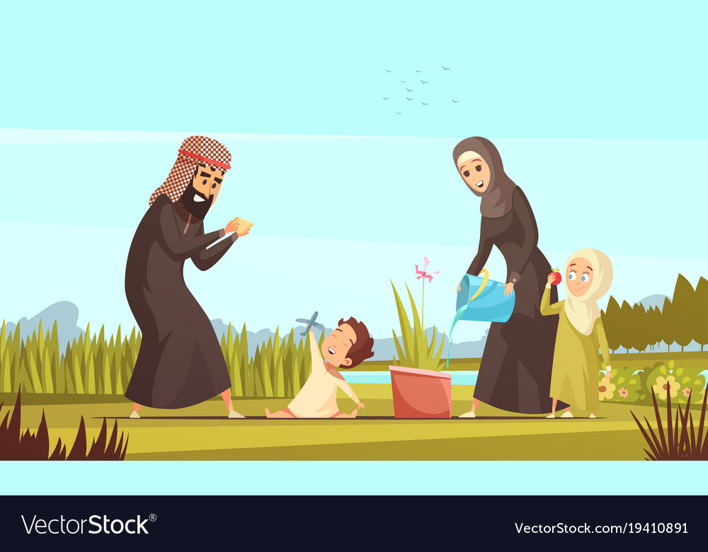 Arab family life cartoon poster