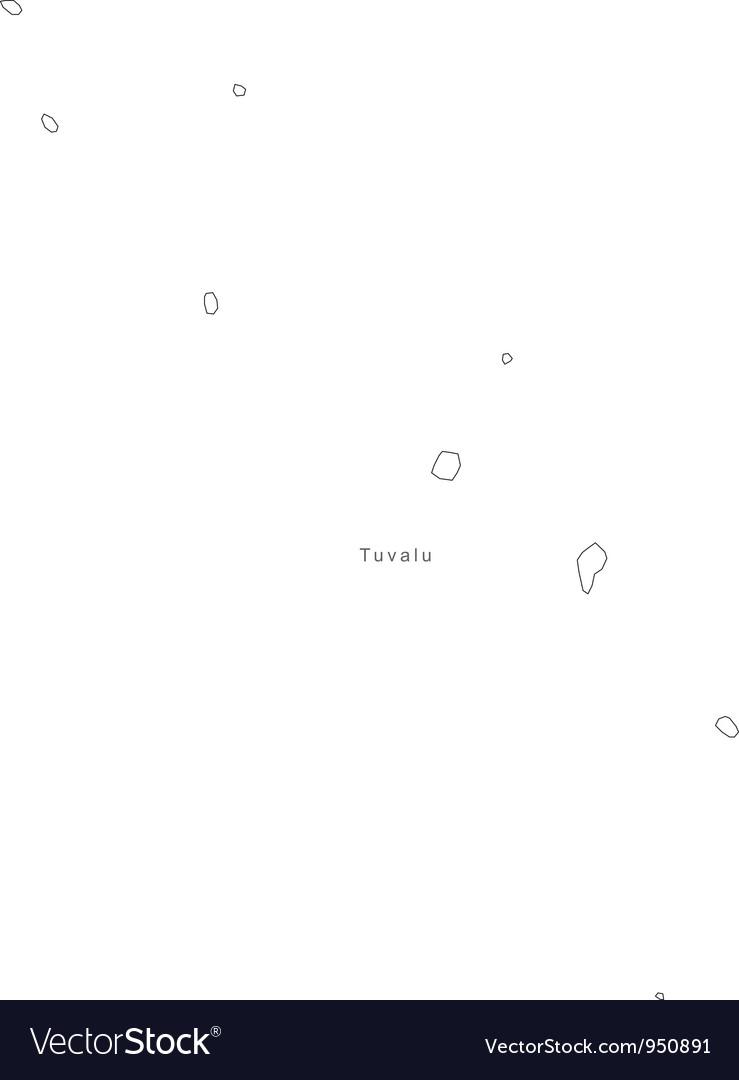 Black White Tuvalu Outline Map